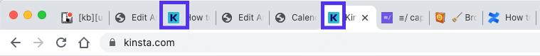 De Kinsta favicon binnen de Chrome browser
