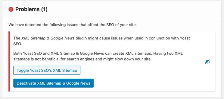 XML Sitemap & Google News conflicting with Yoast plugin