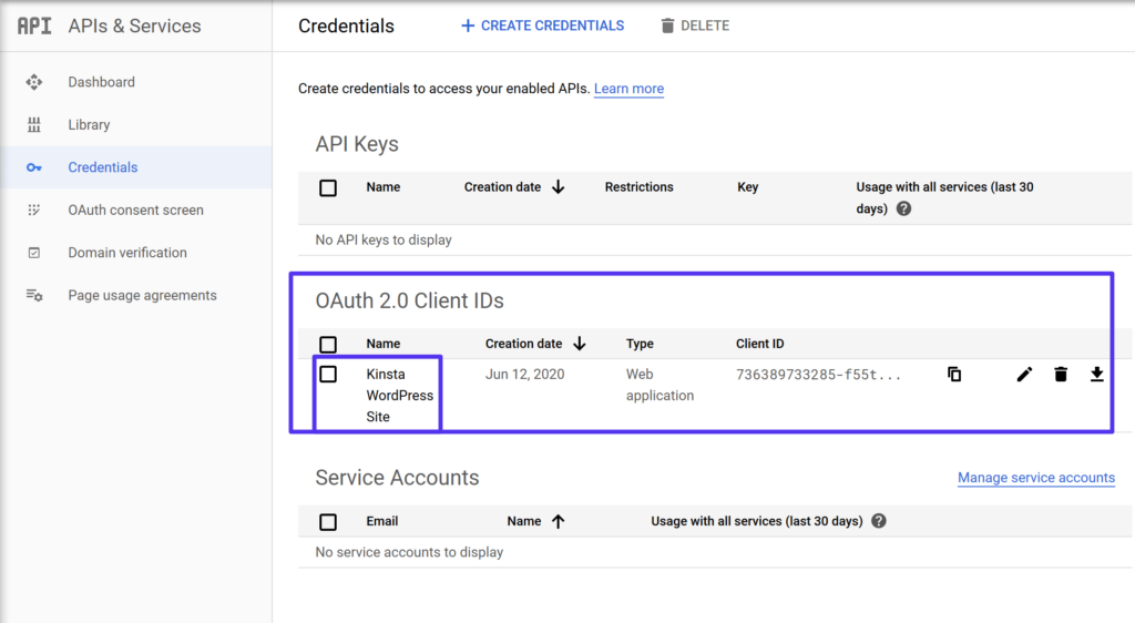 Access OAuth 2.0 client IDs