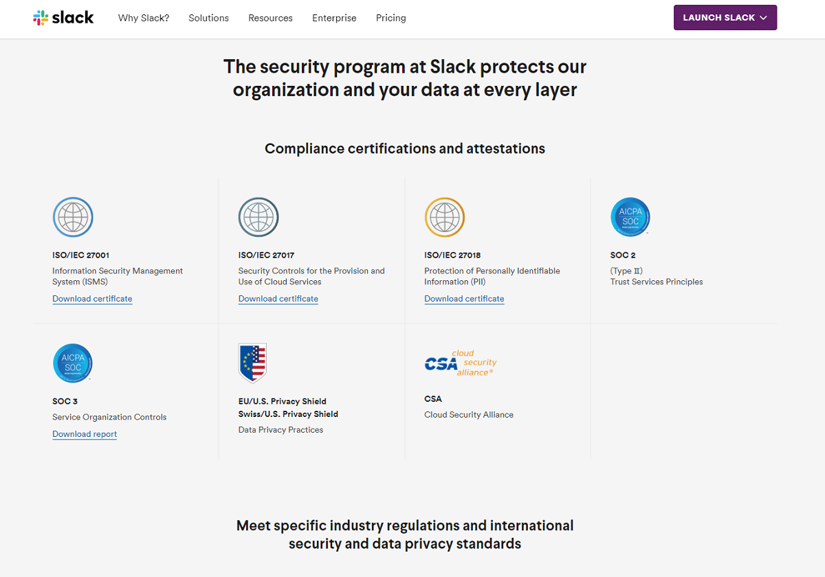 Beveiliging in Slack