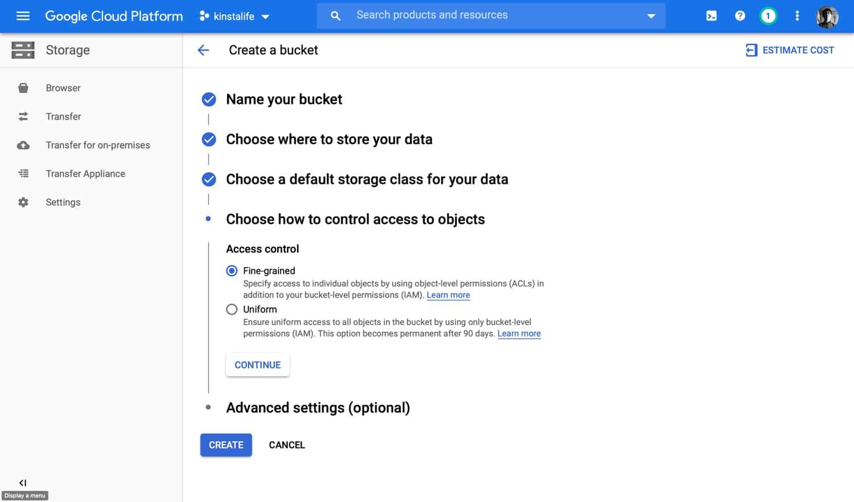 Selecteer het toegangscontrolebeleid voor je GCS bucket.