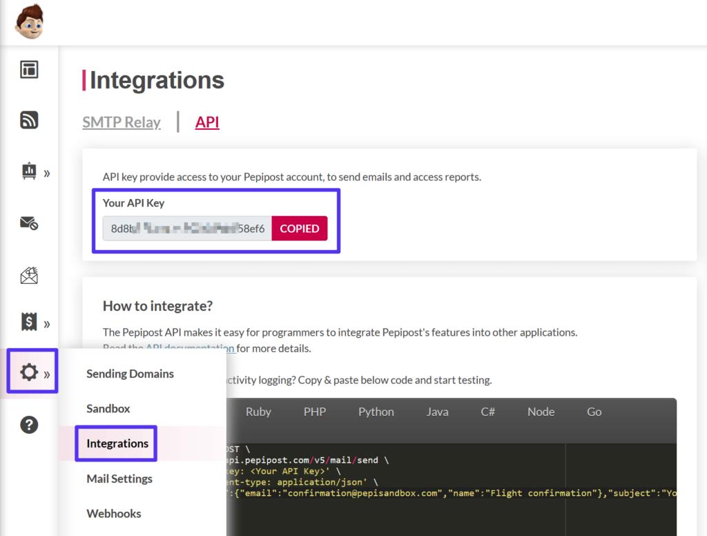 Vinden van de Pepipost API key