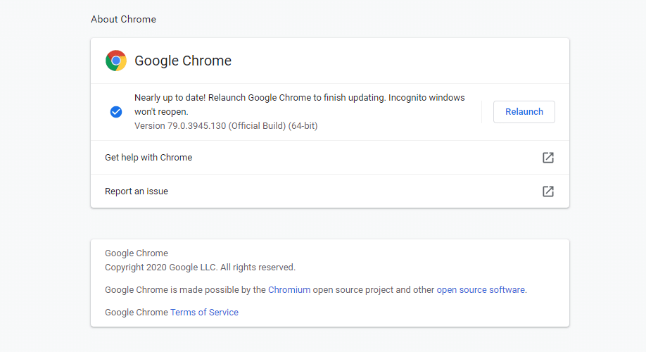 De Google Chrome update pagina