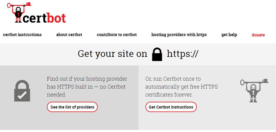 De startpagina van Certbot