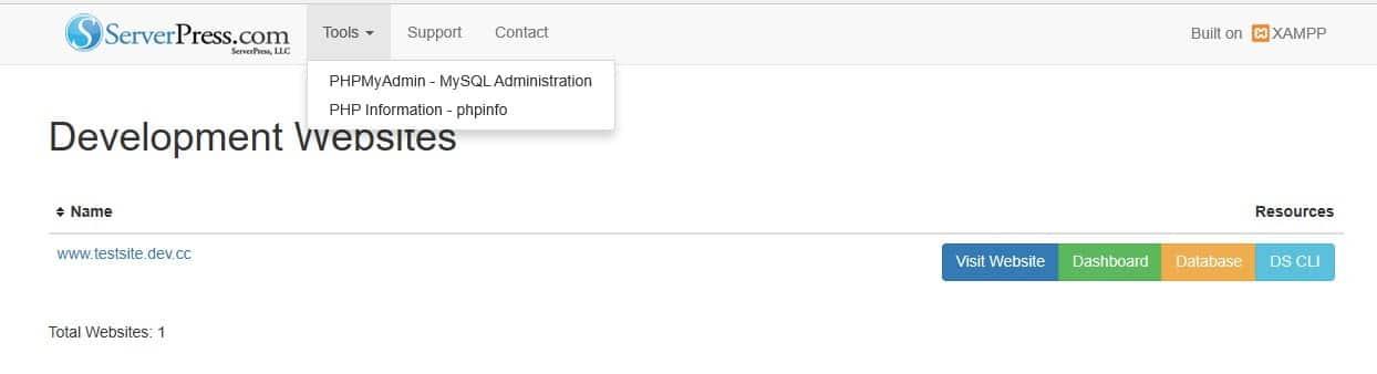 De administrator interface van de DesktopServer localhost