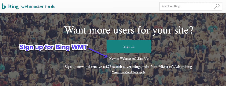 Aanmeldingspagina voor Bing Webmaster Tools