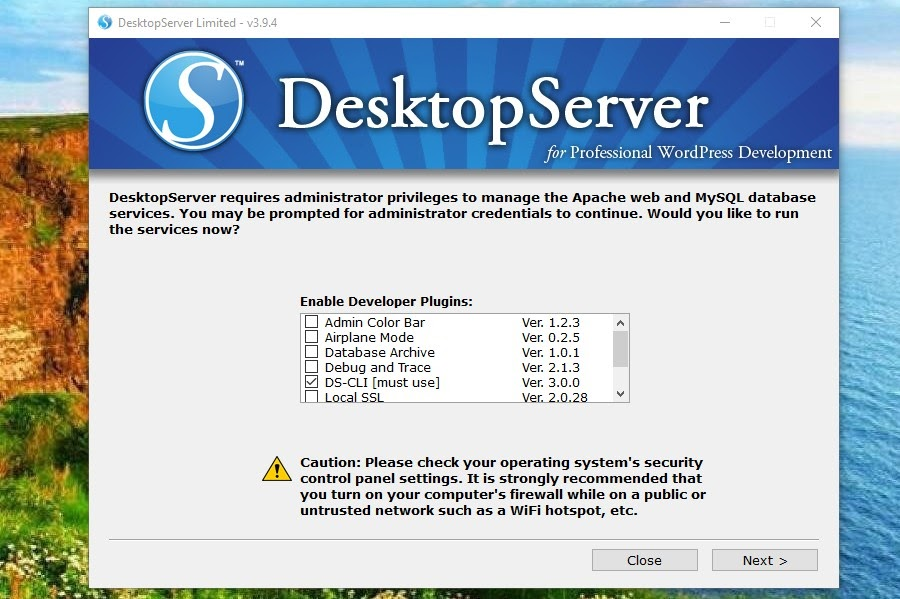 Het DesktopServer developer plugins scherm
