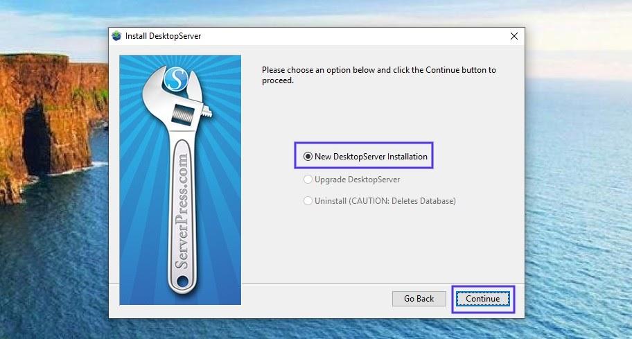 Het DesktopServer Installation venster