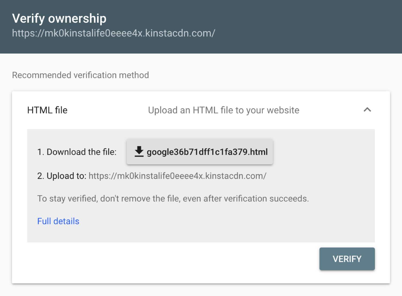 Download het HTML verificatiebestand voor Google Search Console.