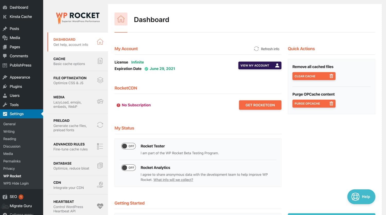 Hoofddashboard WP Rocket