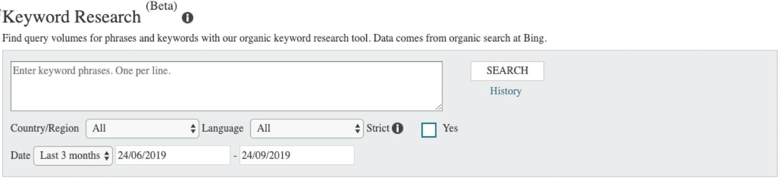 Keywordonderzoek in Bing Webmaster Tools
