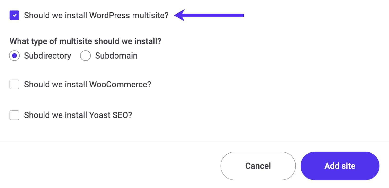 Ook Kinsta's sitecreatie-wizard ondersteunt de WordPress Multisite modus.