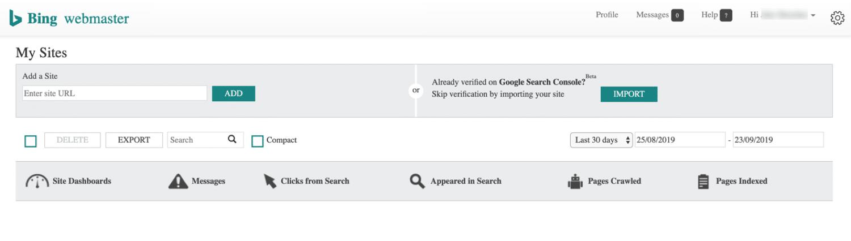Een leeg Bing sitedashboard