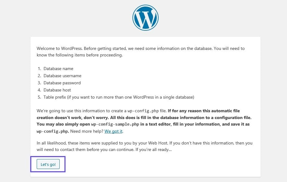 De pagina met details over de database van een nieuwe WordPress installatie