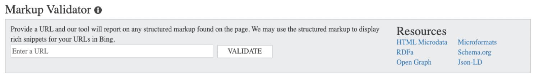 Schema/structured data markup validator in Bing