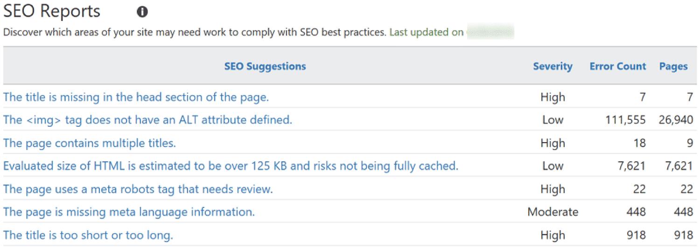 SEO Reports in Bing