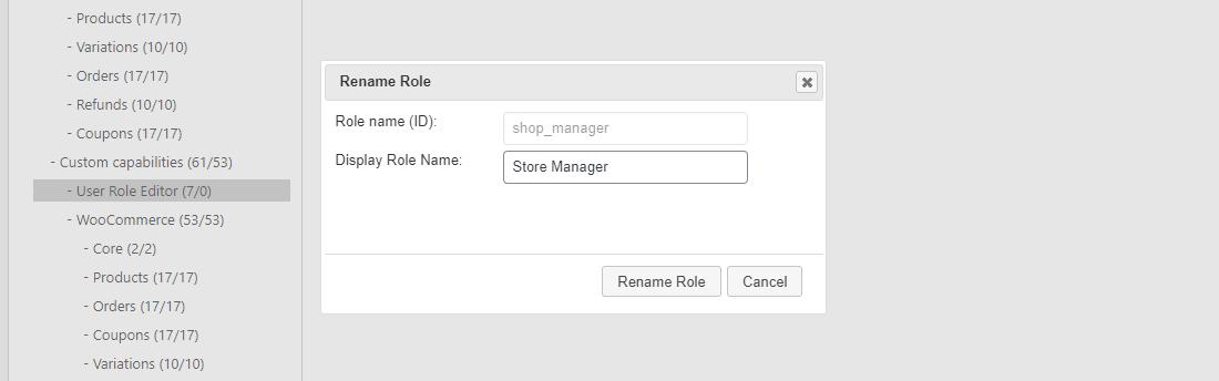 Verander de 'Role Display Name'