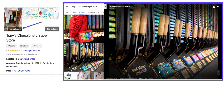 Een voorbeeld van foto's op Google My Business