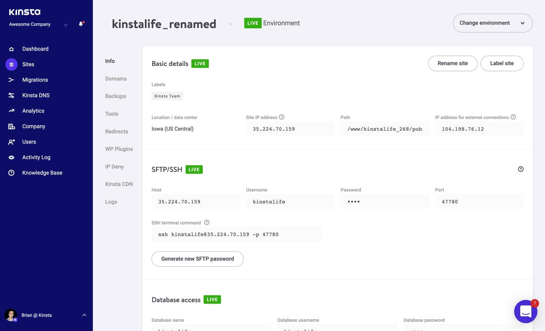 Een voorbeeld van een hernoemde site in MyKinsta.