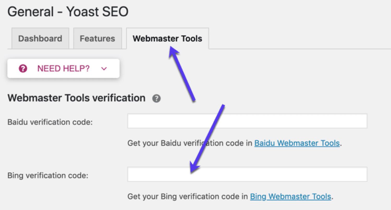Yoast SEO Bing Webmaster Tools instellen