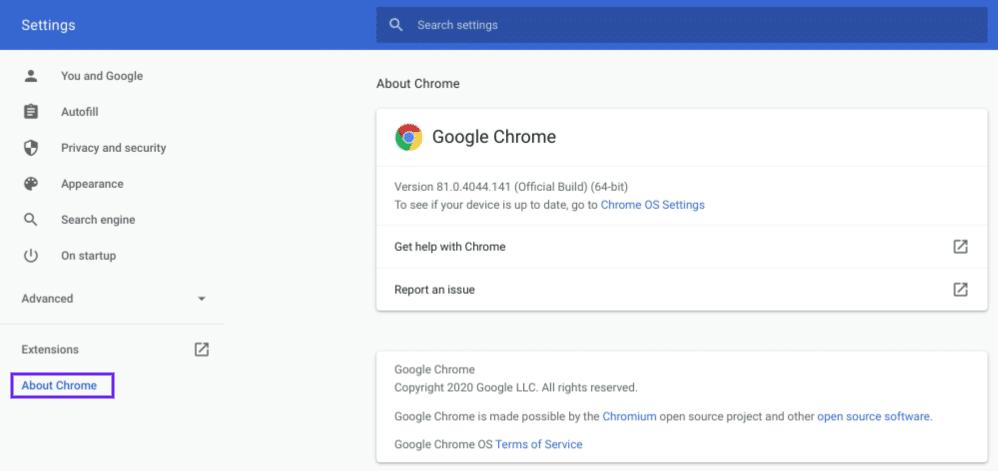 De About pagina van Chrome browser