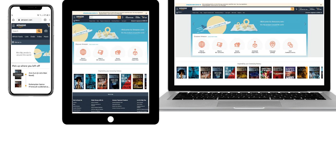Amazon op mobile, tablet, en laptop