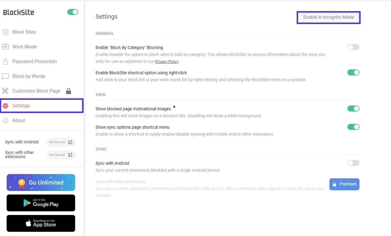 BlockSite ingeschakeld voor de Incognito Modus