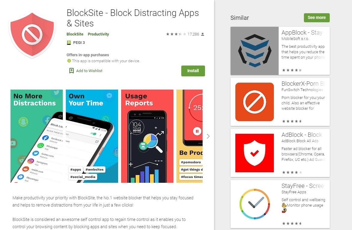 BlockSite Android app