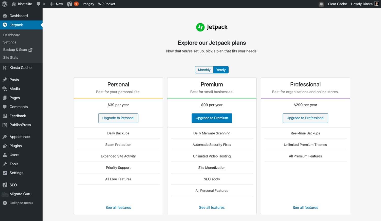Jetpack's verschillende abonnementen.