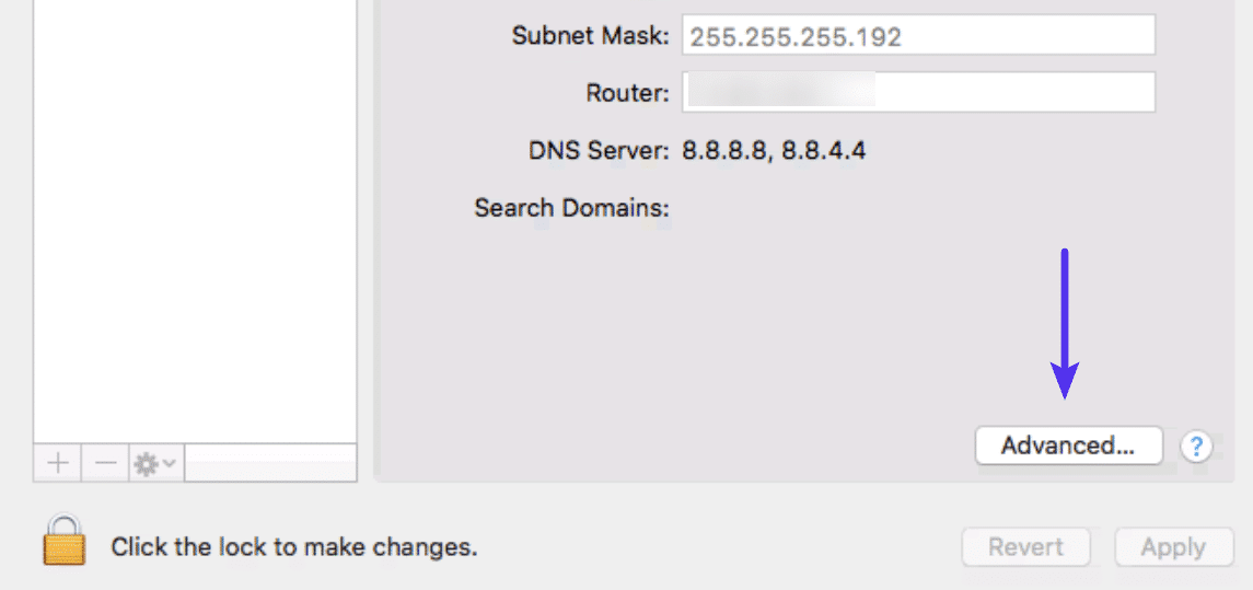 De knop Advanced in het Mac Network System venster