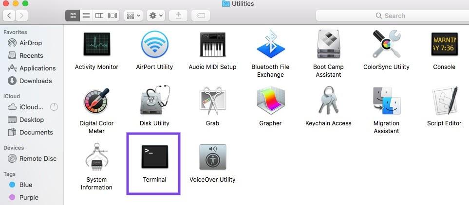 De macOS Terminal applicatie in de Utilities map