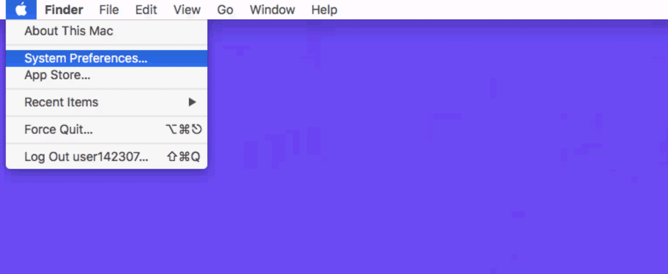 Het System Preferences menu in Mac