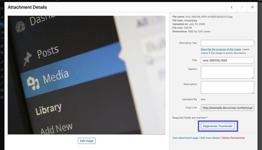 Je kan de thumbnails regenereren in de bijlagedetails.