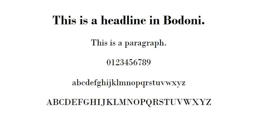 Voorbeeld van Bodoni MT
