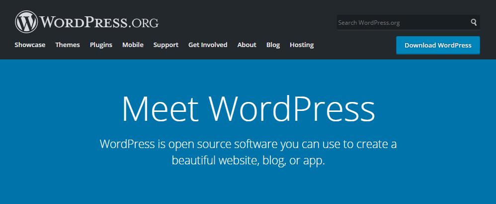 De WordPress.org homepagina voor de zelf-gehoste versie