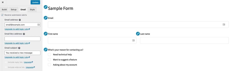 Happyforms email tabblad