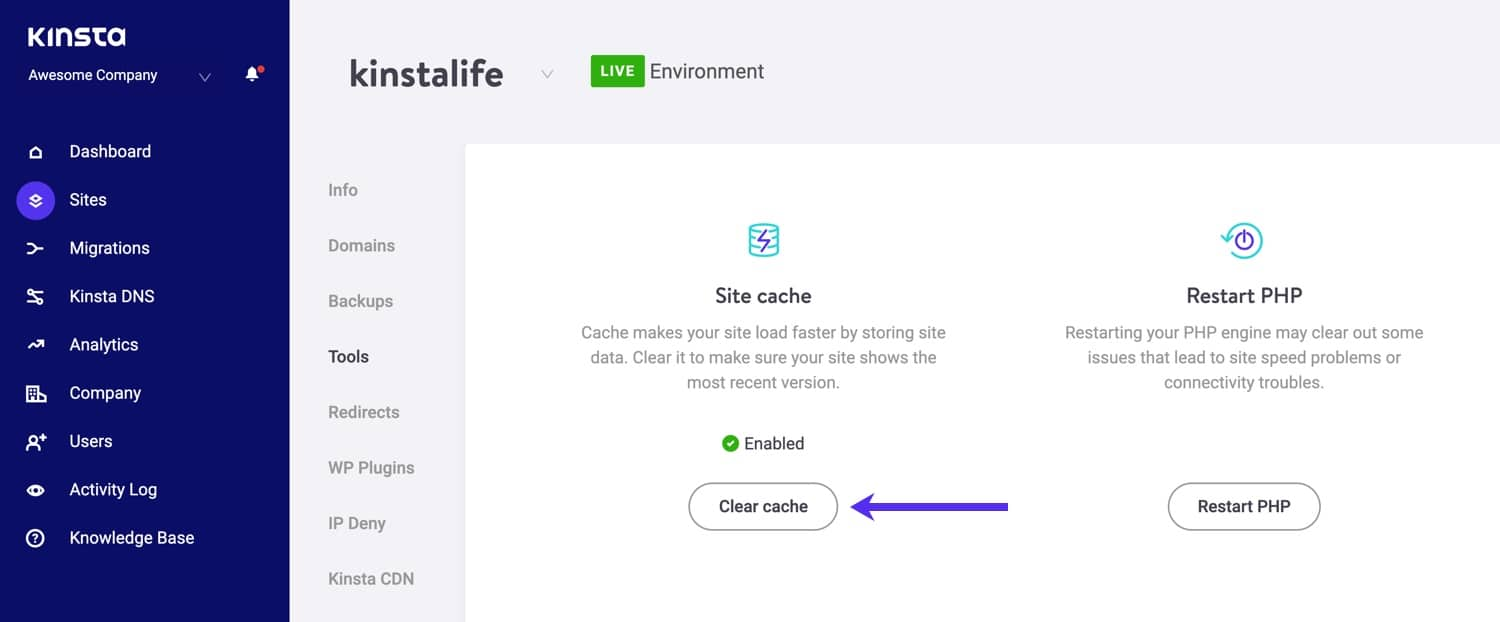 Wis de WordPress cache in MyKinsta.