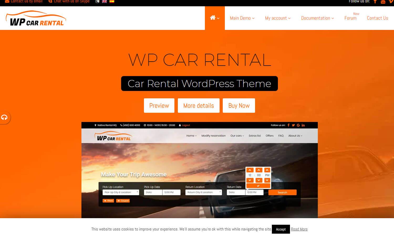 WP Car Rental captura de tela