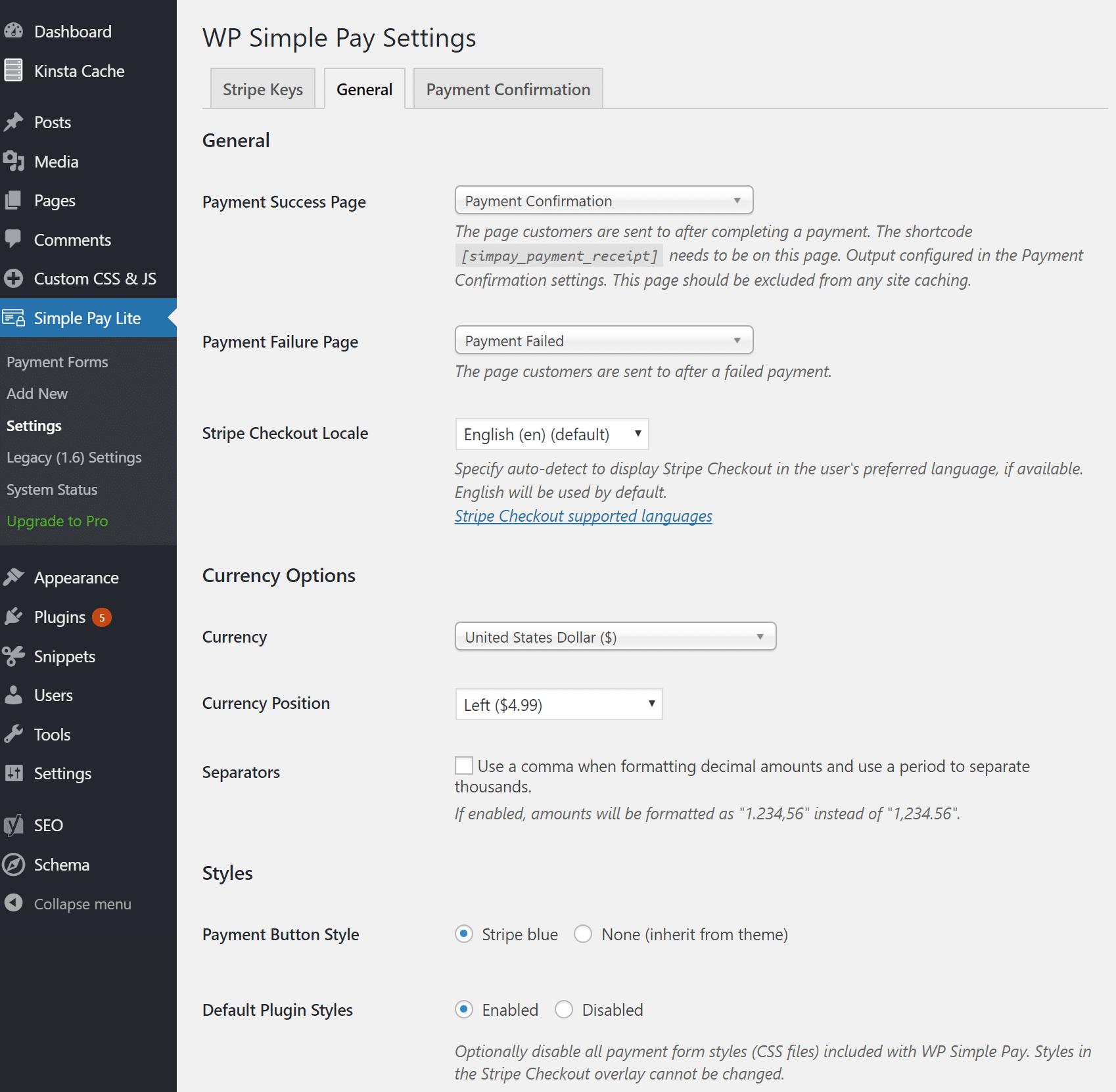 Configurações de WP Simple Pay