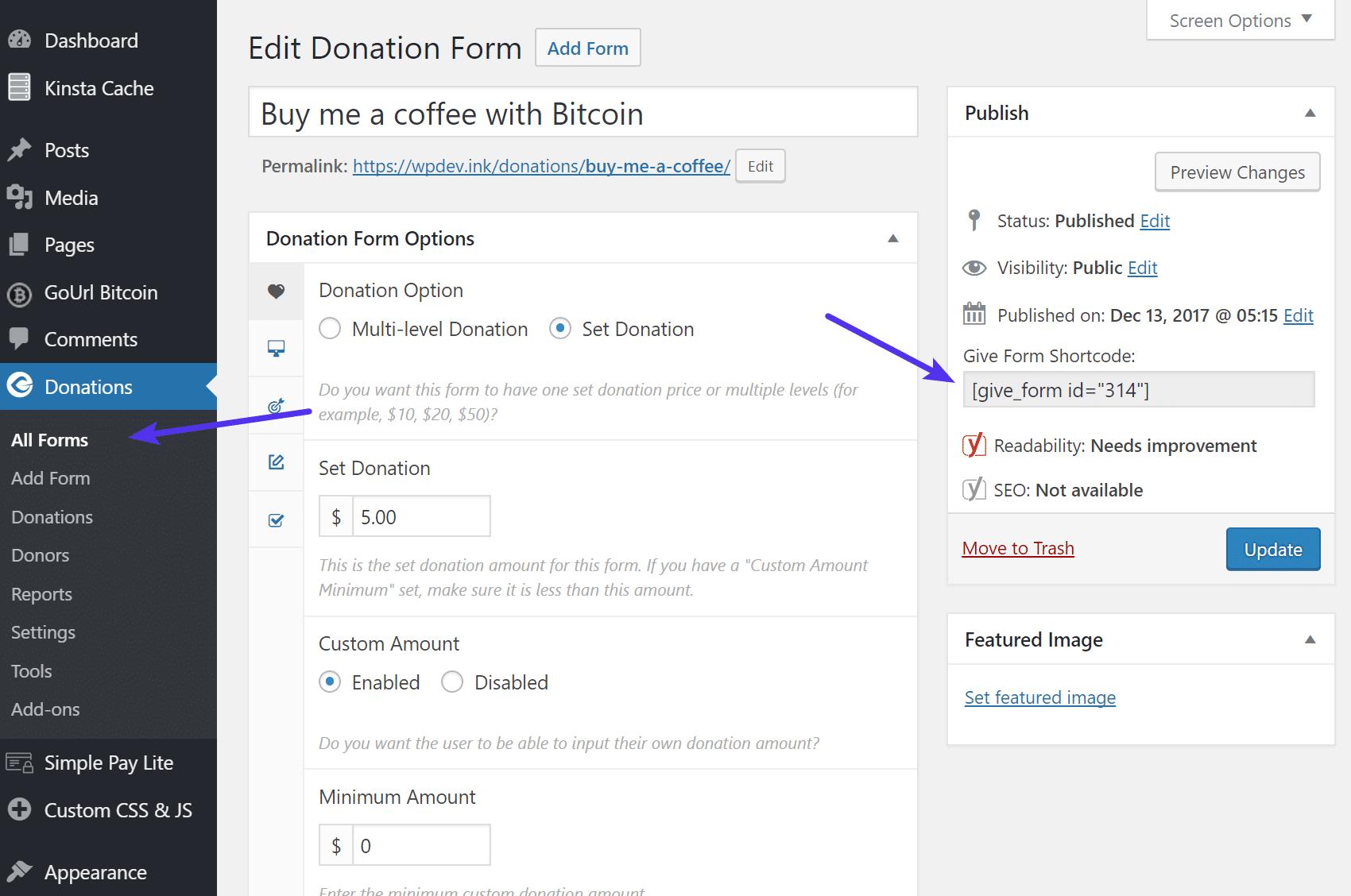 Dar formulário de doação