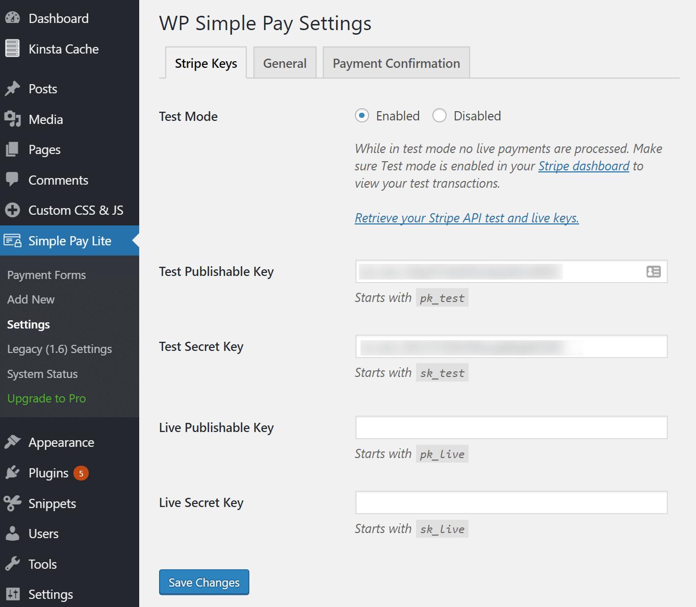 Instalar o plugin WP Simple Pay Lite