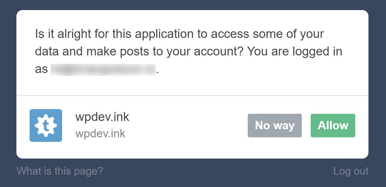 Autorizar o Tumblr