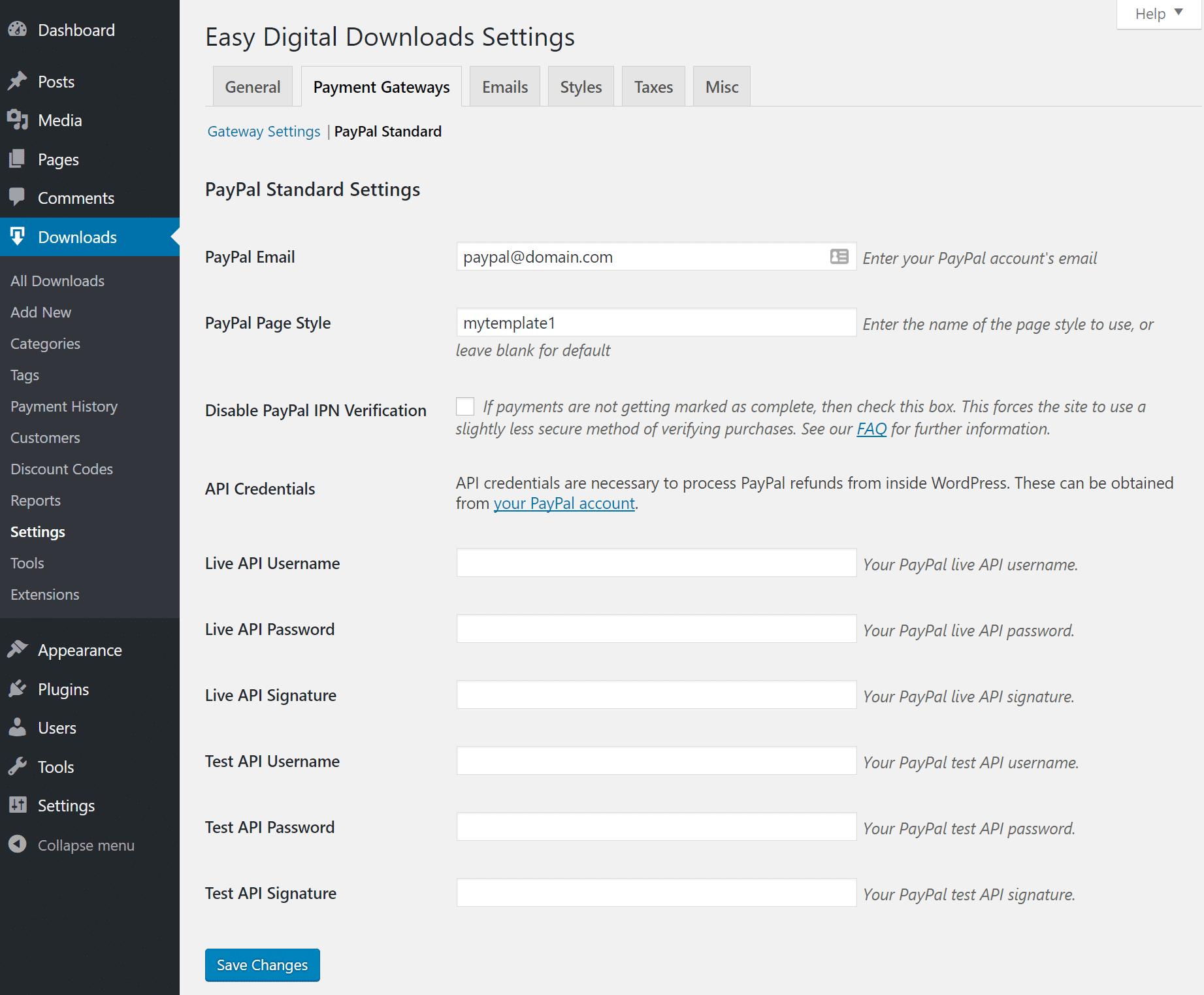 Configurações do PayPal Standard no EDD