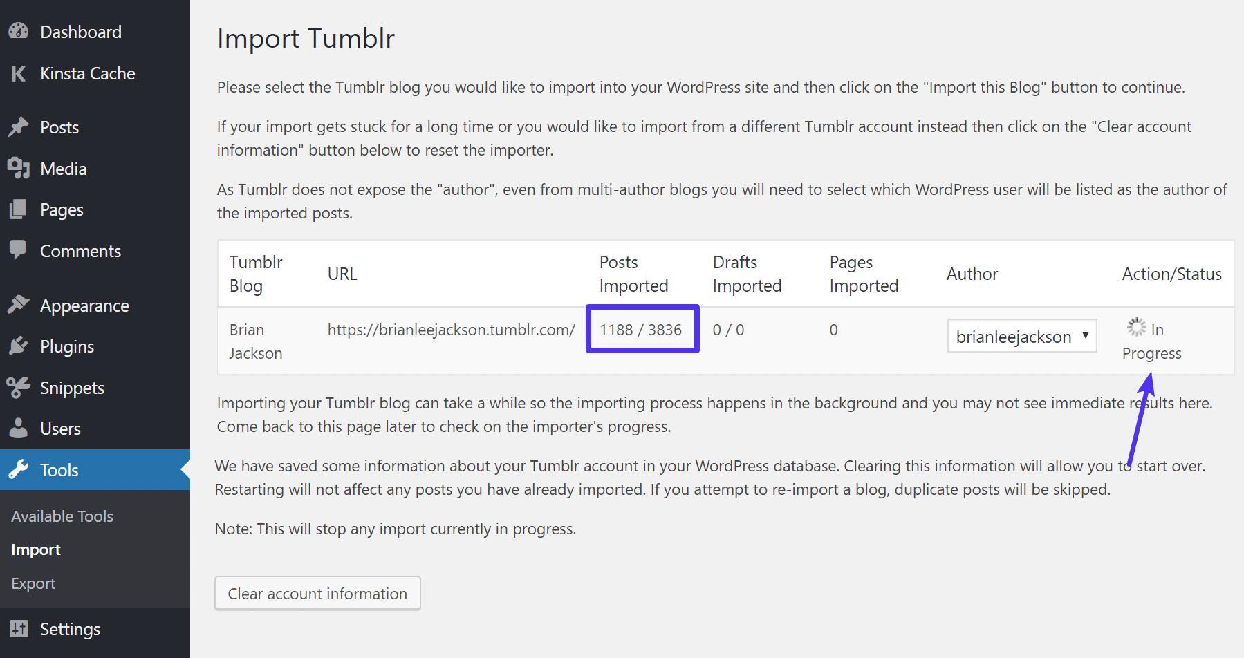 Tumblr progresso de importação