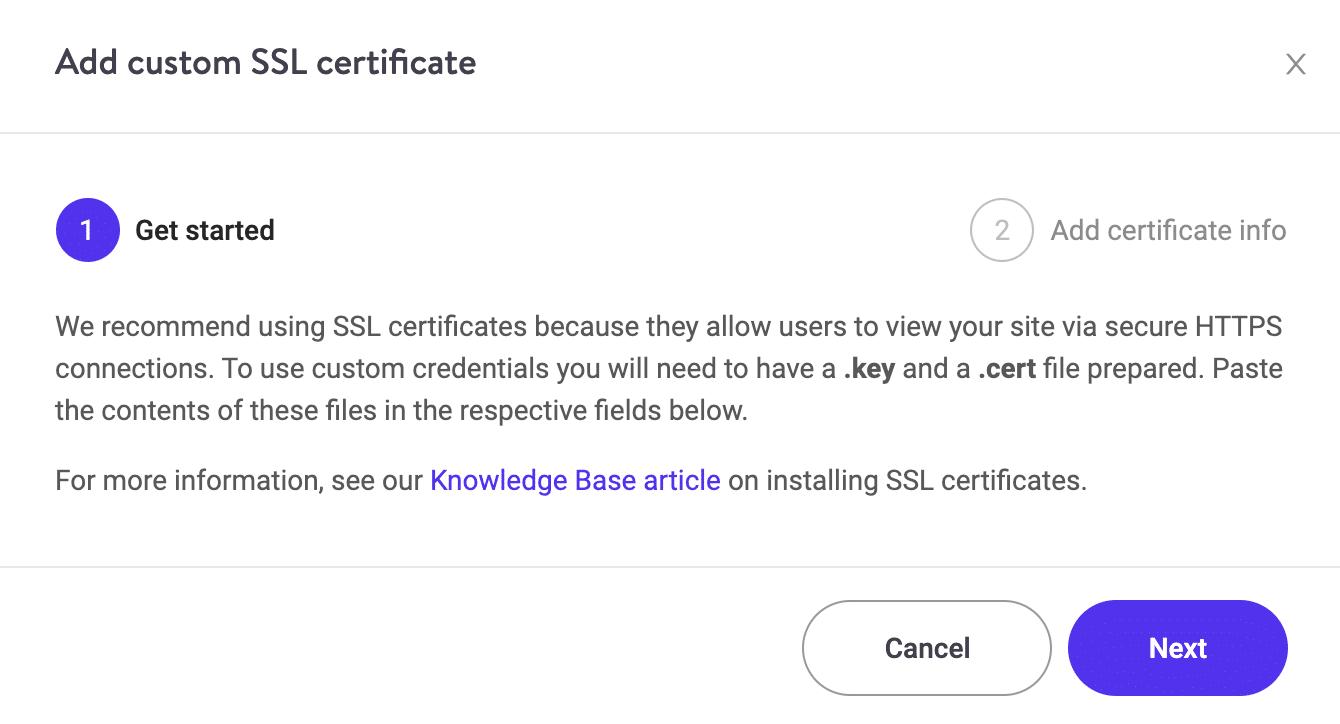 Adicionar certificado SSL personalizado Passo 1