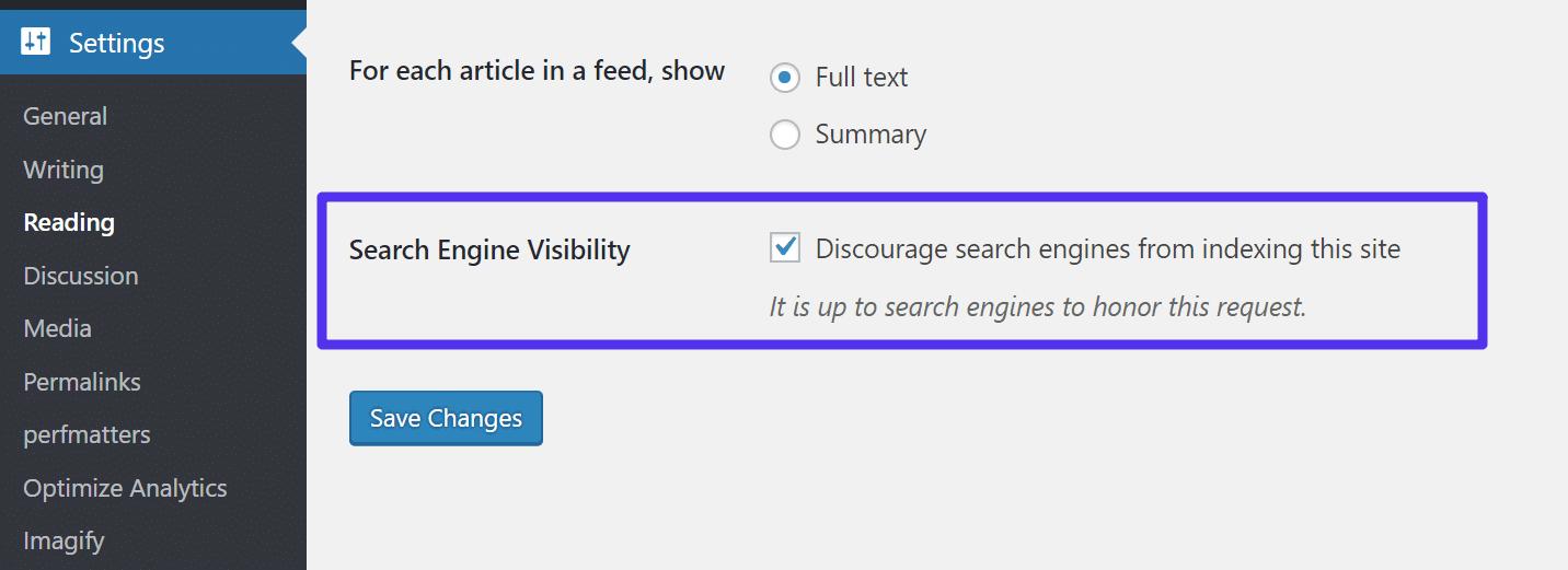 Indexação desativada no site de testes
