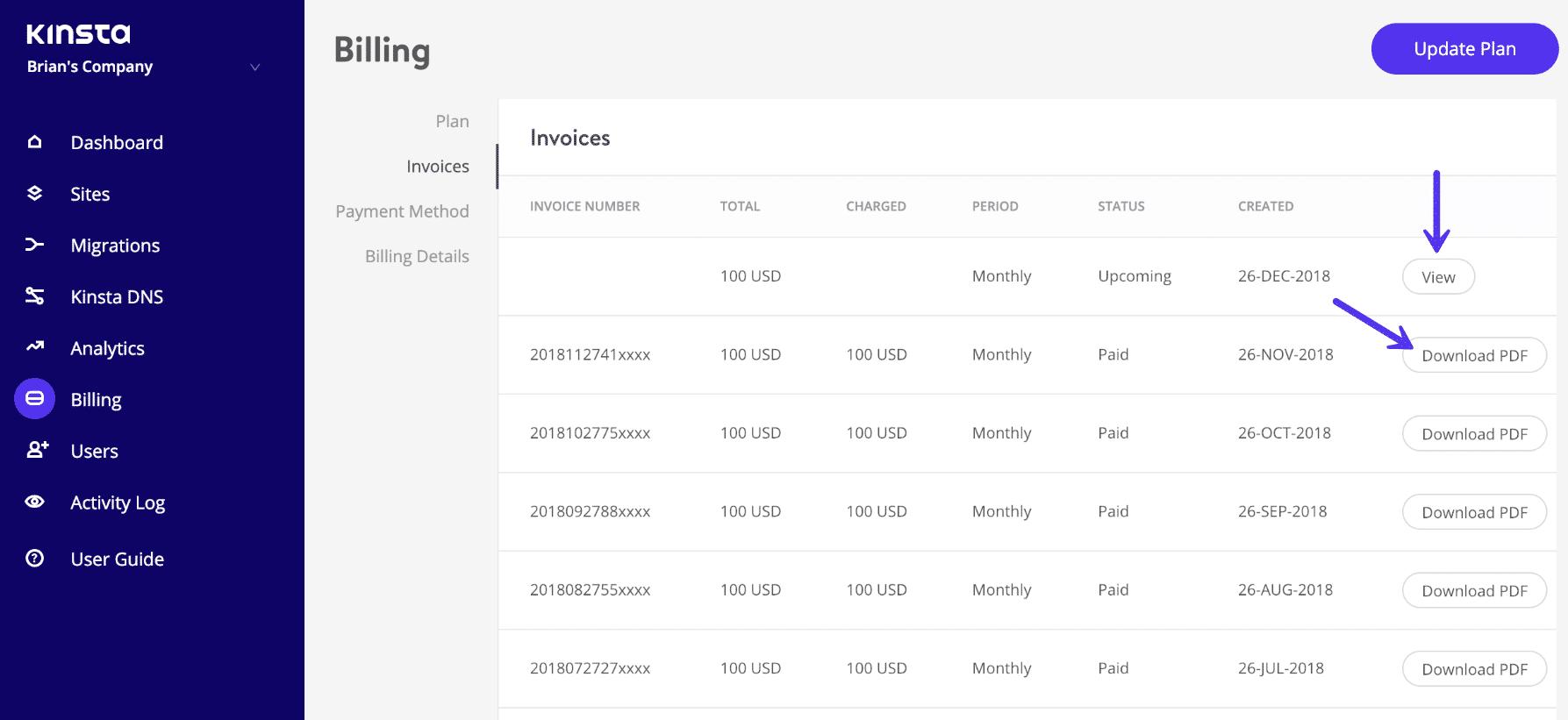 Lista de faturas do Kinsta