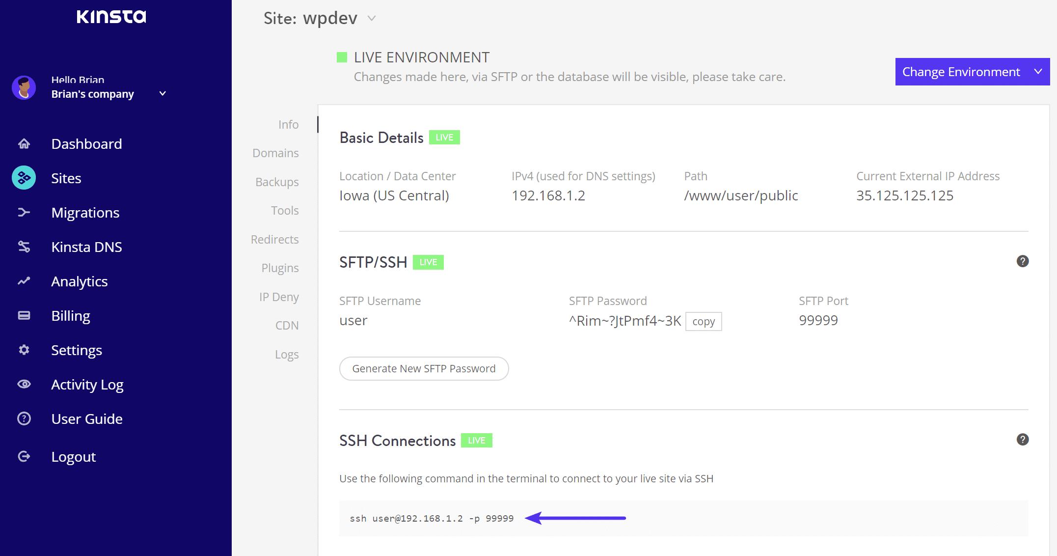 Conectar ao SSH - Informações de login do MyKinsta