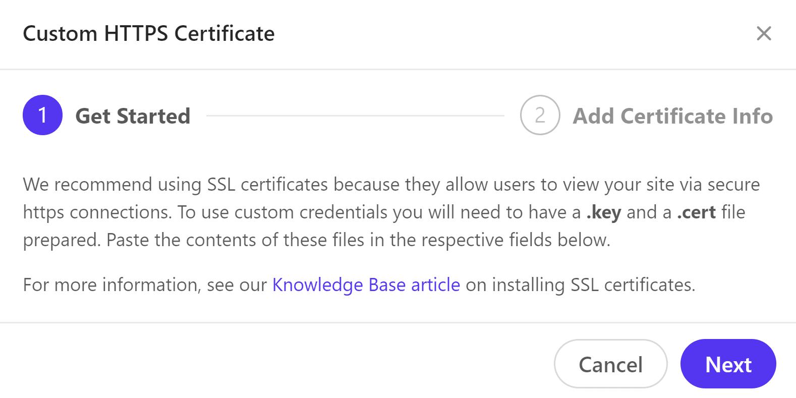 Credenciais HTTPS personalizadas