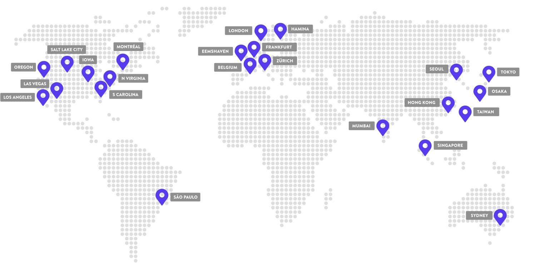 Localização dos centros de dados da Kinsta